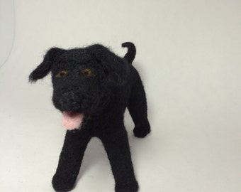Needle-Felted Black Labrador Retriever