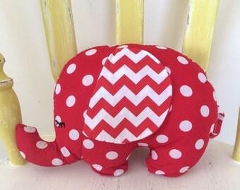 Sleepy Elephant Stuffed Toy, Plush Stuffed Elephant in Red/White Spot & Chevron, Kids Toy or Nursery Decor.