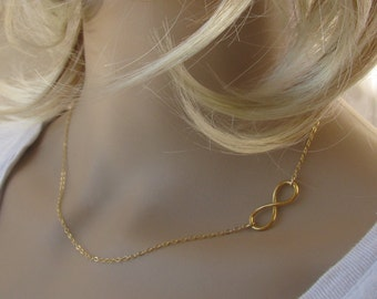 Gold necklace , gold infinity, sideways gold necklace, eternity necklace, everyday jewelry, infinity charm, simple handmade jewelry