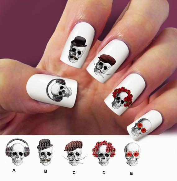Skull nail decal nail art 60 nail decals sugar by ...