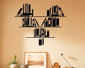Wall Vinyl Decal Books Stickers Reading Room Library Interior Housewares Design Bedroom Home Decor (12bcs01)