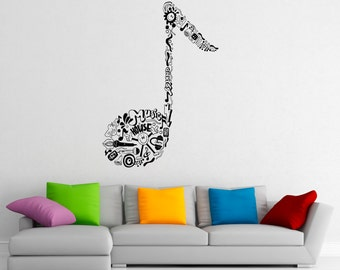 Music Wall Decal Vinyl Stickers Music Notes Home Interior Art Design Murals  Bedroom Wall Decor (5m01c)