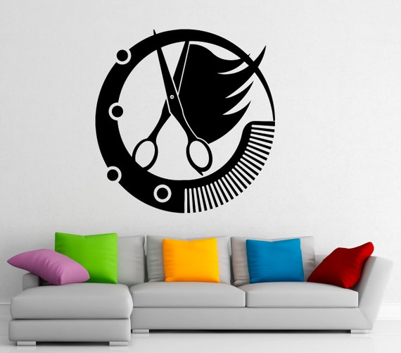 Barbershop logo wall decal vinyl stickers hairdressing salon - Stickers salon design ...