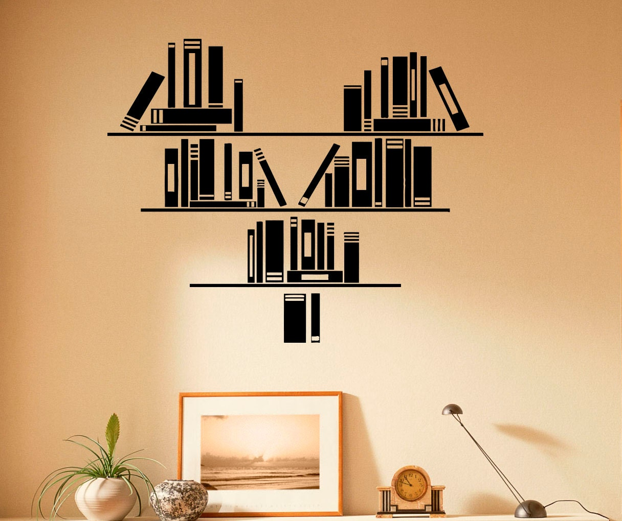 Wall vinyl decal books stickers reading room library interior - Home decor books ...