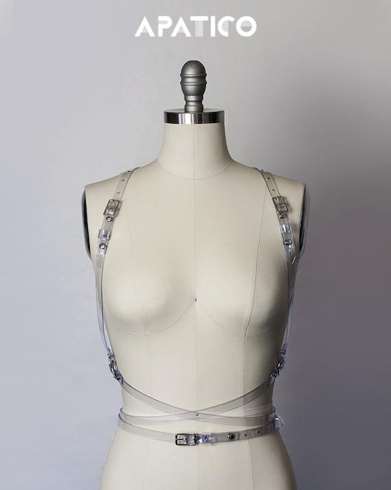 SPIRE HARNESS - Clear PVC Harness - Wraparound Harness - Body Harness Belt - Translucent Vinyl - Leather