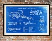 Star Wars Speeder Bike Blueprint Art Speeder Bike Return of the Jedi Technical Drawing Engineering Drawings Patent Blue Print Art Item 0107