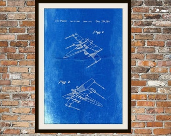 Star Wars X Wing Fighter Blueprint Art of The X Wing Fig 1 & Fig 2 Technical Drawings Engineering Drawings Patent Blue Print Art Item 0105