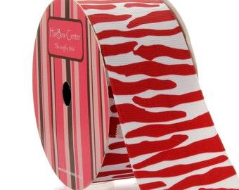 """1.5"""" White/Red Zebra Grosgrain Ribbon - 5yds"""