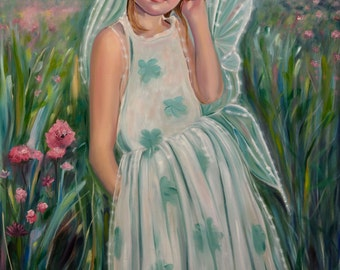 Lilly, oil painting, 30x40, sweet little girl fairy, wall art, home decor, child's room