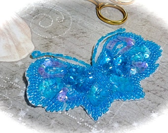 Beaded Butterfly Applique Sea Blue & Lavender DYI Crafts Trims BA-102