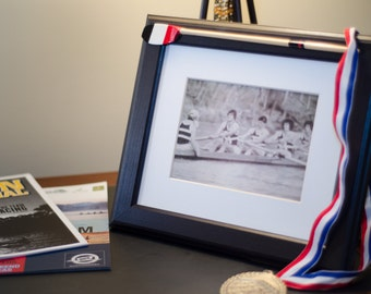 "Custom rowing oar on frame sized for 8x10"" or 5x7""photo"