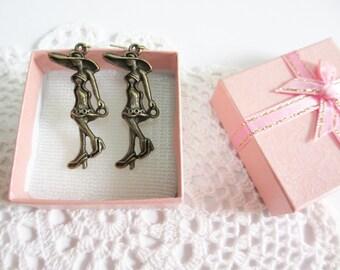 Mademoiselle Zinc Alloy with Brass Ear Wire Earrings, Bronze Toned