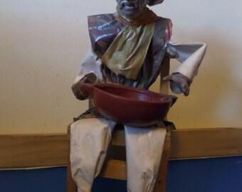 Mexican Papier Mache Folk art figure in chair with bowl