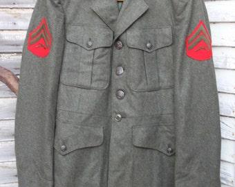 Vintage 1950's Marine Corps Service Blouse / Alpha's Blouse / Green / Jacket Size Small-Medium