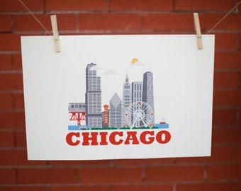"12"" X 18"" Poster Print - Chicago City Living Design - Show Off Your Favorite City"
