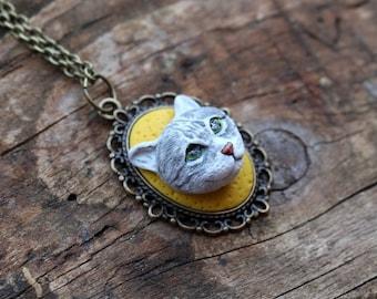 Custom portrait, custom cat portrait, custom pet portrait, 3D cat portrait, clay cat, polymer clay cat portrait, cat necklace, cat art