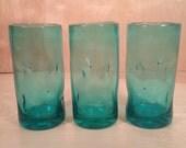 Set of 3 Vintage Mid Century Blenko Indent Tumblers Turquoise Blue 12 oz.