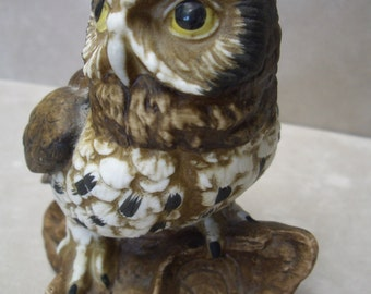 Horned Owl Setting on a Log/Branch Ceramic, Well Made