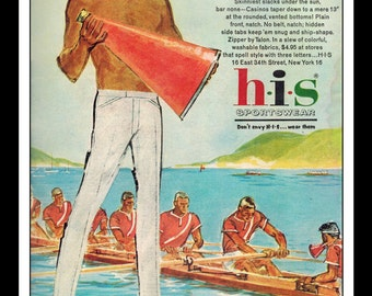 "Vintage Print Ad June 1962 : HIS Sportswear Casinos Rowing Sports Illustration Fashion Clothing Wall Art Decor 8.5"" x 11"" Advertisement"