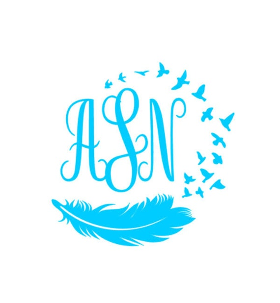 Feather Bird Monogram Vinyl Decal Custom Car Decal - Monogrammed custom vinyl decals for car