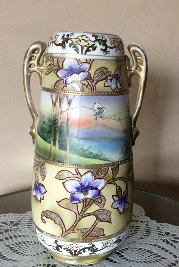 Vintage Hand Painted M M Decorative Vase Antique Vase