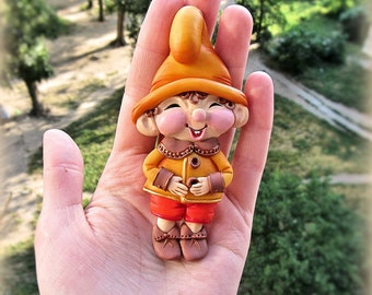 Polymer clay brooch lovely gnome - Jewelry - gift for her - kids fashion - gift ideas - polymer clay jewelry - brooch pin - fairytale