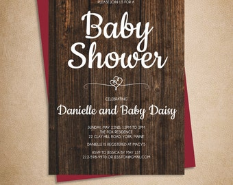 Rustic Baby Shower Invitation DIY // Elegant Calligraphy on Dark Wood Printable PDF ▷ Baby Shower Invite Printable