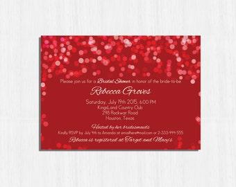 Bridal Shower Invitation, Red bridal shower invitation, red invitation, red lights, red confetti invitation, red wedding, red invitation