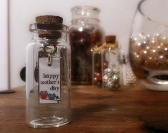 Happy Mother's Day Message in a Bottle with Owl's
