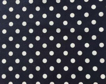 7mm White Polka Dot Fabric on Navy. Quilting weight fabric 100% Cotton - Fat Quarter