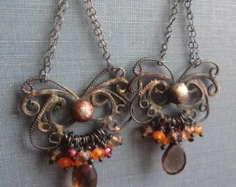 Sterling Silver Filigree, Smoky Quartz, Rhodolite Garnet, and Carnelian Chandelier Earrings