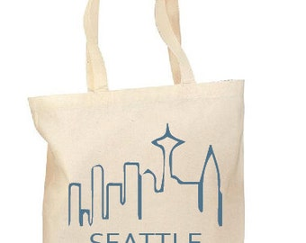 The Seattle Tote, Hand printed, Grocery Bag, Reusable Bag, Screenprinted, NW, Cotton Tote, Canvas Tote, Shopping Bag, Gift