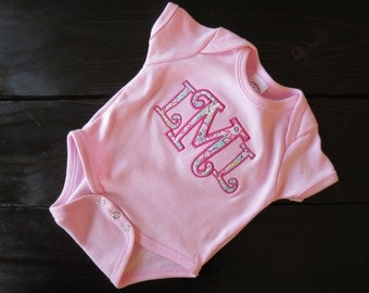 Monogrammed Baby Girl Onesie - Applique Onesie - Cute Baby Onesie - Personalized Onesie - Custom Onesie - Creeper - Bodysuit