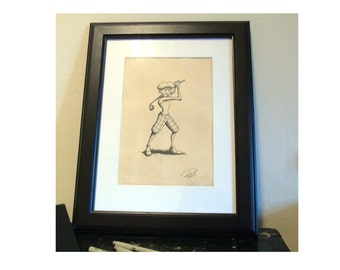 Old Golfer - Classic Style Original Artwork / 1920's Vintage Appearence / A4 / Perfect Golfing Gift