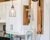 Edison Industrial Pulley Light on a Rustic Wall Plank