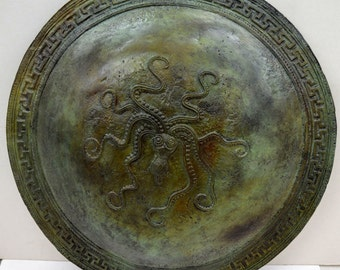 Bronze Ancient Greek Octopus carved Shield real size