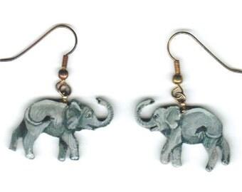 Elephant Earrings Original Hand Painted