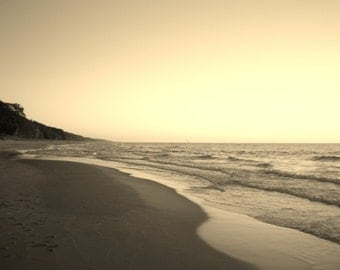 SAND AND SURF in Sepia--Beach Photography, Michigan Photography, Lake Michigan, Shore, Sand, Surf, Landscape, Seascape, Beach, Beach Scene