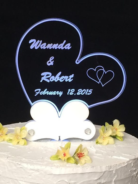 lighted wedding cake toppers personalized acrylic engraved wedding cake topper 16868