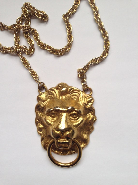 vintage lion door knocker necklace