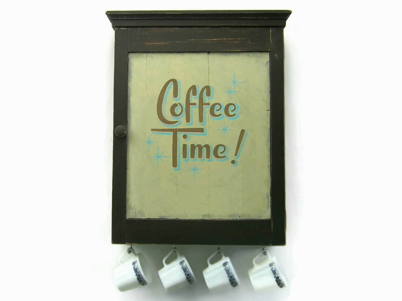 Rustic Coffee Bar Cabinet Cup Hooks Kitchen By JMEllisDesigns