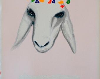 Jewish Art - Kadishman - Original Signed & Numbered Serigraph: White Sheep