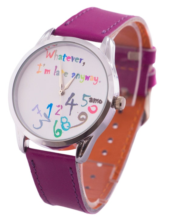 Purple Girl's Watch, Leather Wristwatch, Falling Numbers Watch