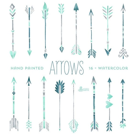 Mint Hand painted Arrows Watercolour 16 Clipart. Tribal