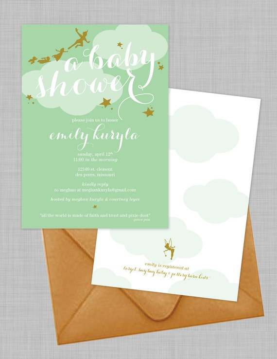 Customizable peter pan baby shower invitations download like this item stopboris Image collections