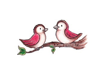 Red birds print, 6 x 4 and 7 x 5