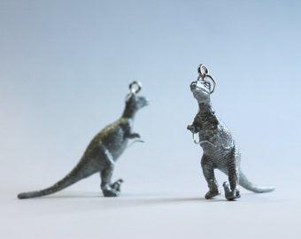 FREE SHIPPING Silver Metallic Glitter Upcycled Plastic Toy Utahraptor Dinosaur Earrings