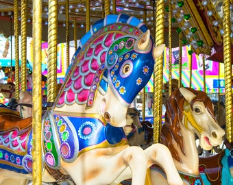 Carousel Horse Photograph, Carnival Photography, Kids Room, Nursery Decor, Childrens Room, Family Room, Merry Go Round, Blue, Yellow, Pink,