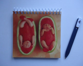 Anne Geddes Watermelon Babies Upcycled Notebook