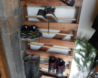 Rustic Shoe Rack Storage Made from Reclaimed Asian Hard Wood Pallet,